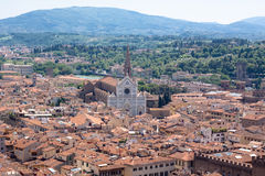 Florence view with Basilica of the Holy Cross Royalty Free Stock Image