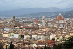 Florence, view of the cathedral and the old palace Stock Images