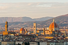 Florence, view of Duomo and Santa croce Stock Image