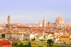 Florence View Palazzo Vecchio e cattedrale di Santa Maria Fotografia Stock