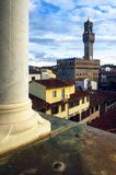 Florence, view with palazzo vecchio. View of the town center of Florence Tuscany, Italy with the tower of Palazzo Vecchio the Old Palace, ancient town hall on Stock Photo