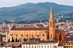 Florence, view of Santa croce church. Tuscany. Royalty Free Stock Image