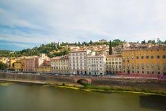 Florence Włoch rzeka arno Piękny widok rzeczny Arno w F zdjęcia royalty free