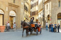 Florence. Walk in the horse-drawn carriage through the city. Royalty Free Stock Photos