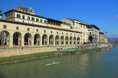 Florence. The waterfront of river Arno in the historic center of Florence, Italy Stock Photos