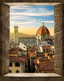 Florence from window. View on Cattedrale di Santa Maria del Fiore in Florence from ancient window, Italy royalty free stock image