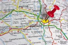 Florencia en un mapa Fotos de archivo