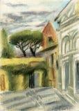 Florencia, Italia, al Monte de San Miniato stock de ilustración