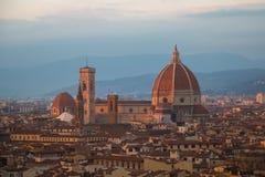 Florencja katedra przy zmierzchu światłem tuscany Włochy Zdjęcia Royalty Free