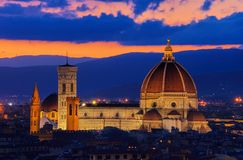 Florencja katedry noc Fotografia Royalty Free