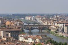 Florencja pejzaż miejski z mostami nad Arno rzeką Obraz Royalty Free