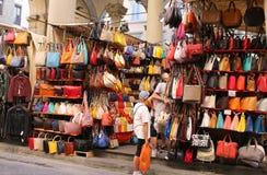 Florencja rynku sprzedawania skóry towary Zdjęcie Stock
