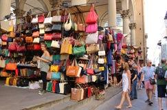 Florencja rynku sprzedawania skóry towary Zdjęcia Stock
