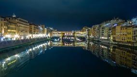 Florencja vecchio most przy nocą Zdjęcie Royalty Free
