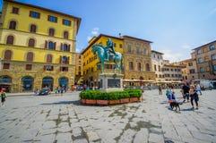 FLORENCJA WŁOCHY, CZERWIEC, - 12, 2015: Cosme equestrian statua po środku piazza della Signoria na Florencja kosmetyk fotografia royalty free