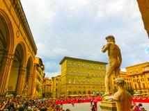 Florencja Włochy, Maj, - 01, 2014: Turyści ogląda Trofeo Marzocco paradują w Florencja, Włochy Obrazy Stock