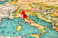 Florencja, Włochy przyczepiał na rocznik mapie Europa Zdjęcie Stock