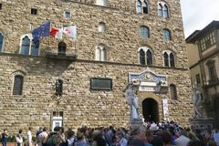 Florencja Włochy, WRZESIEŃ, - 7, 2016 Stary pałac Palazzo Vec obrazy royalty free