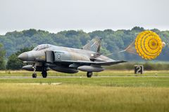 F-4 Phantom fighter jet plane parachute landing Royalty Free Stock Photo