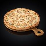 Florentina`s Pizza, mozzarella, chicken, salmon, sauce Florentina, mushrooms Stock Images
