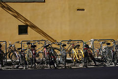 Florentine bikes. Bicycles on a street in Florence, Italy Stock Photo
