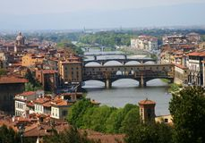 Florentine Bridges. Florence scenery from the top of DaVinchi square Royalty Free Stock Image