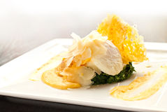 Florentine egg or poached egg dish Stock Photo
