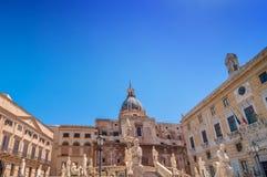 Florentine fountain on Piazza Pretoria in Palermo Royalty Free Stock Photos