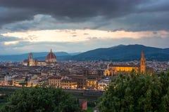 Florenz auf einem Sonnenuntergang, Italien Lizenzfreie Stockfotos