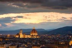 Florenz auf einem Sonnenuntergang, Italien Stockbild