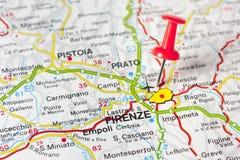 Florenz auf einer Karte Stockbild