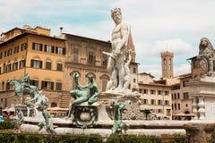 Florenz - berühmter Brunnen von Neptun auf Marktplatz della Signoria, Stockbild
