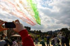 Florenz, Italien - März, 28 2018: Airshow von PAN Frecce Tricolori Stockbilder
