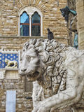 Florenz: Löwe beim Palazo Vecchio Lizenzfreies Stockbild