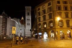 Florenz-Stadtzentrum bis zum Nacht Stockbilder
