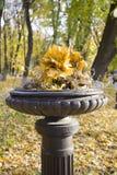 Florero antiguo del arrabio con las hojas de otoño en el jardín Foto de archivo libre de regalías