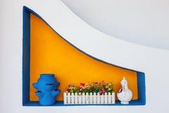 Florero azul de cerámica del estilo griego Fotografía de archivo
