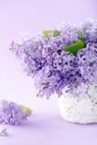 Florero blanco con un ramo de lilas Fotografía de archivo