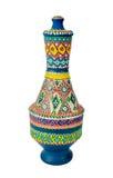 Florero colorido adornado hecho a mano egipcio Kolla de la cerámica Foto de archivo libre de regalías