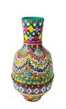 Florero colorido adornado hecho a mano egipcio Kolla de la cerámica Fotos de archivo libres de regalías