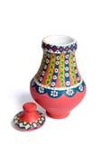 Florero colorido adornado hecho a mano egipcio rosado Kolla de la cerámica Fotografía de archivo