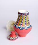 Florero colorido adornado hecho a mano egipcio rosado Kolla de la cerámica Imagenes de archivo