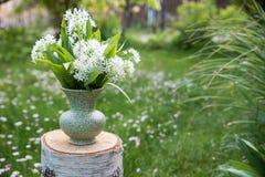 Florero con ajo salvaje escogido y los flores del ajo de los osos blancos en un tronco de árbol en el jardín fotos de archivo libres de regalías