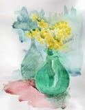 Florero con la acuarela de la mimosa Fotos de archivo libres de regalías