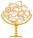 Florero con la fruta Foto de archivo libre de regalías