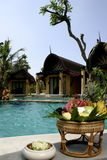 Florero con las flores Piscina, ociosos del sol al lado del jardín y pagoda con las columnas Fotografía de archivo libre de regalías