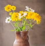 Florero de cerámica con las flores amarillas del prado del verano Imagen de archivo libre de regalías