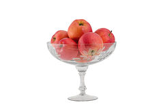 Florero de cristal con las manzanas Imágenes de archivo libres de regalías