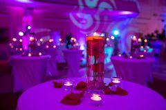 Florero de cristal con las velas del agua y de la luz de rosas rojas Fotografía de archivo