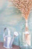 Florero de cristal de flor secada y de riego Fotografía de archivo